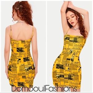 Dresses & Skirts - Golden Yellow Newspaper Above knee Dress